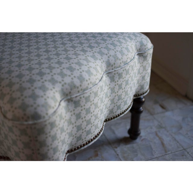 Custom Holland and Sherry Fabric Upholstered Scalloped Ottoman For Sale - Image 6 of 8