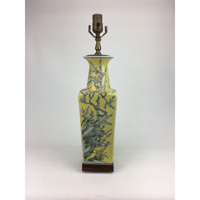 Traditional Vintage Peach Blossoms, Branches and Leaves Motif Vase Table Lamp For Sale - Image 3 of 6