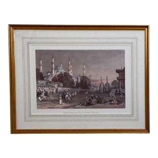 Vintage Engraving of the Blue Mosque, Circa 20th Century For Sale