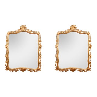 Large Vintage Gilt Acanthus Wall Mirrors - a Pair For Sale