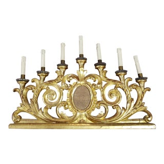 19th C. Gilt Wood Candelabra with 7 Candles For Sale