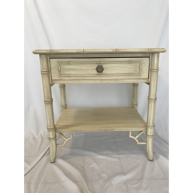 Darling vintage faux bamboo Thomasville nightstand. A fun storage piece!