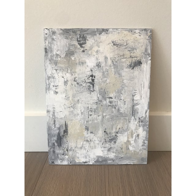 2010s Neutral Grey White Blue Original Abstract Painting For Sale - Image 5 of 5