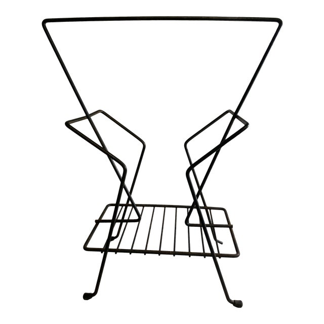 1950s Mid-Century Atomic Black Metal Wire Magazine Rack Record Holder For Sale