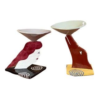 Handmade Tabletop Ceramic Sculptures Circa 1990 - Pair For Sale