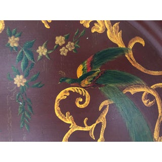 1950s Red and Gold Peacock and Floral Painted Vintage Tole Tray Preview