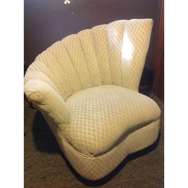 Art Nouveau Pair of Mid Century Modern Tan Fan Chairs For Sale - Image 3 of 9