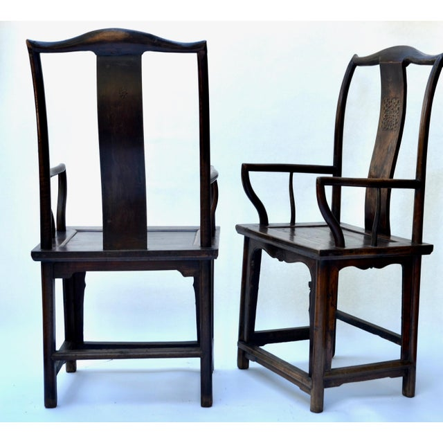 Mid 19th Century Antique Pair Tall Chinese Scholar Chairs For Sale - Image 5 of 12
