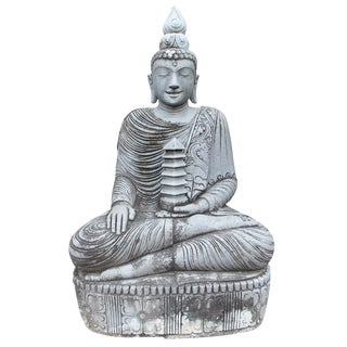 Vintage Stone Sitting Buddha For Sale