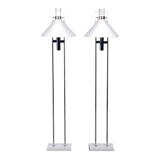 Pair Robert Sonneman Chrome Floor Lamps, 1970's For Sale