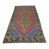 Image of Vintage Turkish Rug Oushak Wool Rug Floral Design Rug Anatolian Antique Rug Area Rug 4x8 Ft For Sale