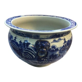 Blue & White Chinoiserie Jardiniere For Sale