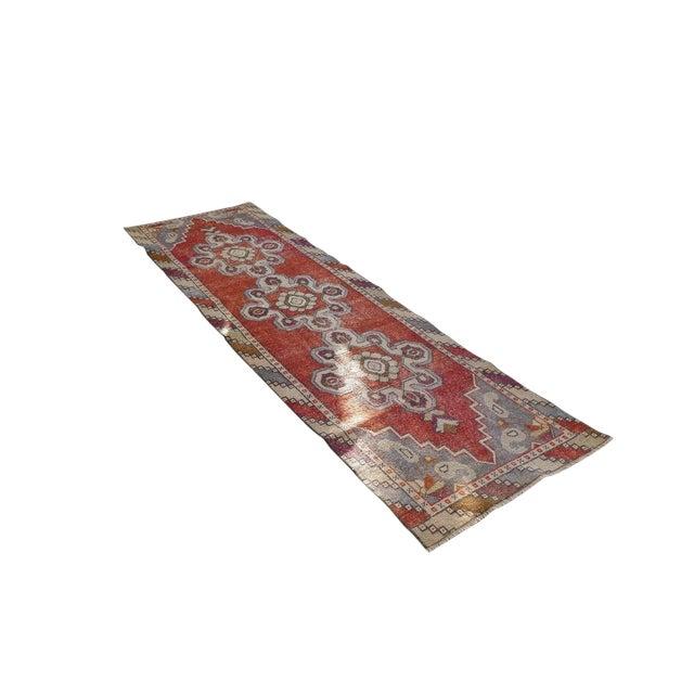 1970s Vintage Turkish Runner Rug Geometric Wool Rug - 2′9″ × 8′7″ For Sale