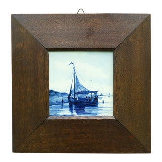 Antique Framed Delft Tile