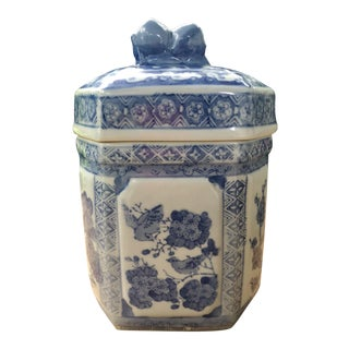 Chinese Hexagonal Blue and White Tea Caddy