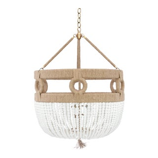 "Frankie Malibu 30"" Chandelier - Milk / Brass / Natural For Sale"
