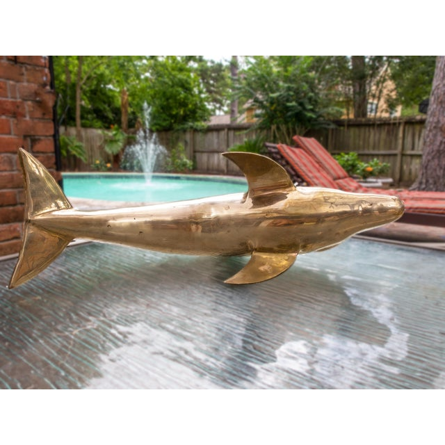 Brass 1960s Vintage Large Brass Dolphin Fish Sculpture For Sale - Image 7 of 8