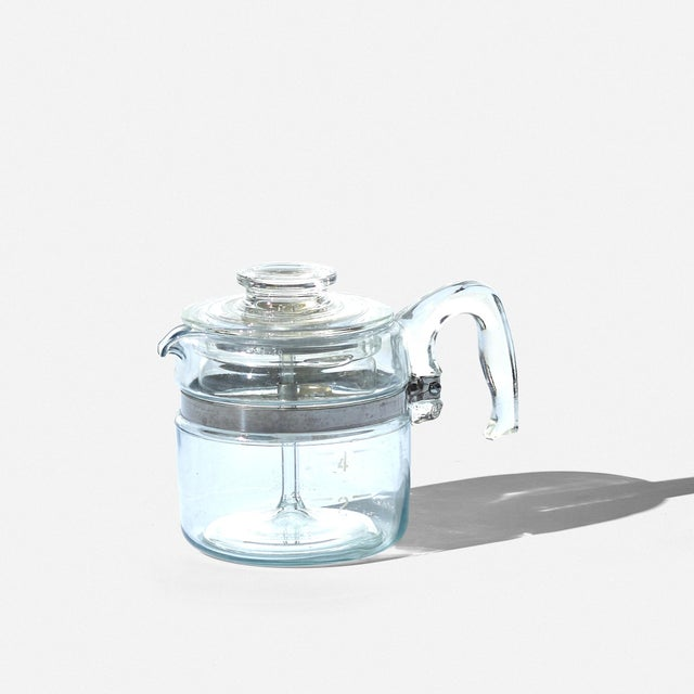 """Vintage clear glass Pyrex 7754 4 cup percolator coffee pot circa 1950s Measures 6.5"""" high and 5"""" in diameter not counting..."""