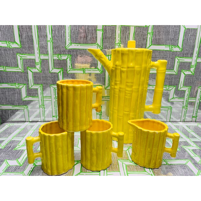 1960s Hollywood Regency Faux Bamboo Tea Set - 5 Pieces For Sale - Image 4 of 13
