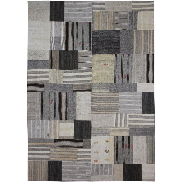 "Hand Knotted Patchwork Kilim by Aara Rugs Inc. - 12'1"" X 8'10"" - Image 2 of 4"