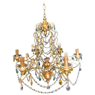 Neoclassical Handcrafted Italian Gilt Metal and Crystal Chandelier by Alba Lamp For Sale