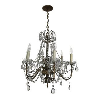 Vintage Mid-Century Neoclassical Crystal Chandelier