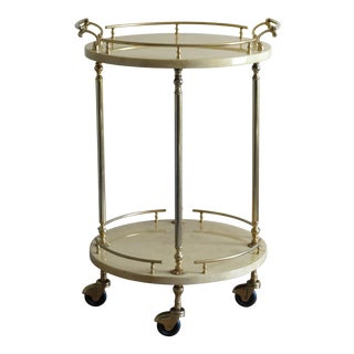 1950's Circular Italian Bar Cart in Cream Lacquered Goatskin by Aldo Tura, Italy For Sale