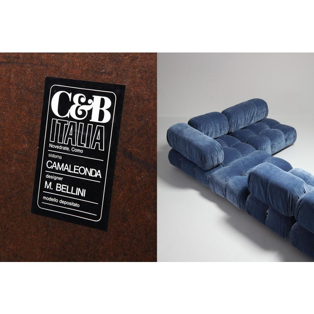 Blue Mario Bellini Camaleonda Sectional Sofa in Blue Velvet For Sale - Image 8 of 9