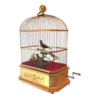 Antique Automation Singing Birds in Bird Cage, Circa 1900.