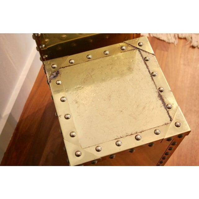 Sarreid-Style Brass Studded Pedestal (Smaller Pedestal Only) - Image 7 of 11