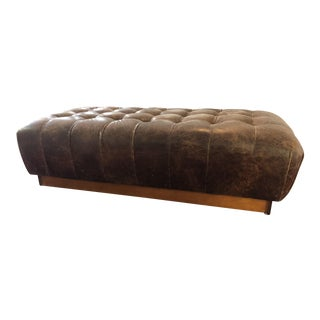 Modern Mitchell Gold Miller Tufted Ottoman For Sale
