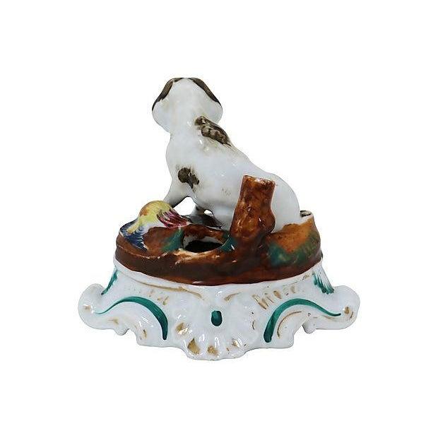 Antique English porcelain dog inkwell. Made circa 1820s. No maker's mark. Light wear,