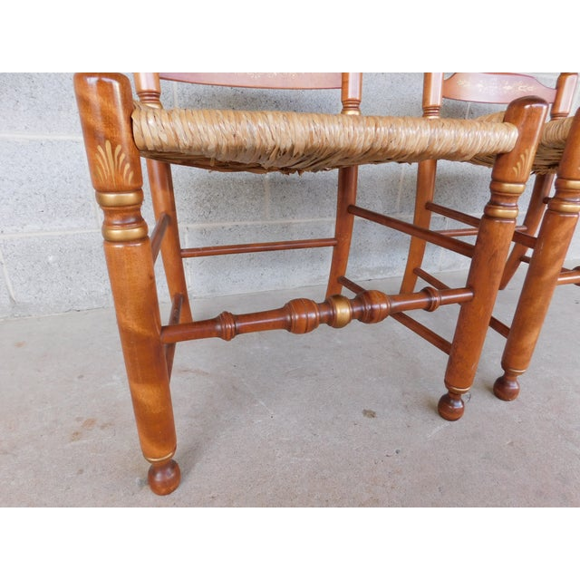 Gold L Hitchcock Harvest Stenciled Ladder Back Rush Bottom Chairs - a Pair For Sale - Image 8 of 13