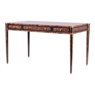 Chic Midcentury Pen Shell Three-Drawer Desk or Writing Table For Sale