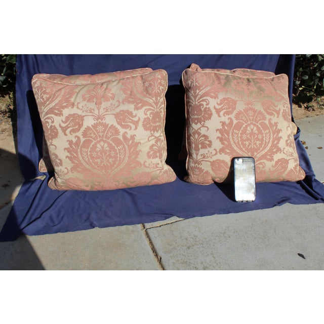 Late 20 c. set of 4 down filled possible fortuny style. Small stain on 3 pillows. Barely noticeable
