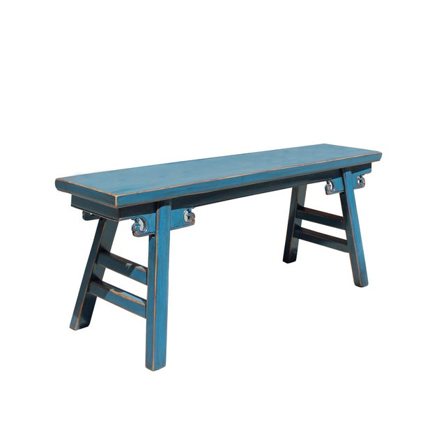 Chinese Oriental Distressed Teal Blue Long Wood Bench Stool For Sale - Image 4 of 7