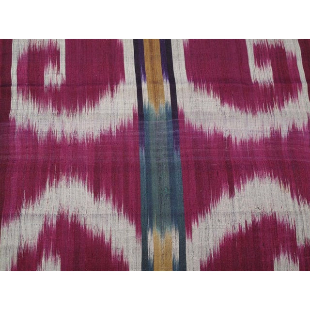 """Three ikat panels from the same loom length, individually mounted on navy cotton fabric. Each panel measures about 70"""" x..."""