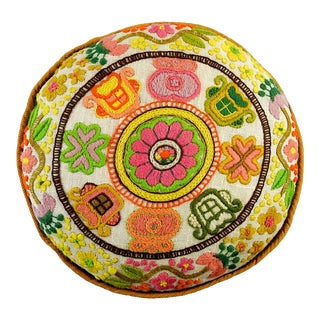 Hand Embroidered Round Boho Pillow For Sale