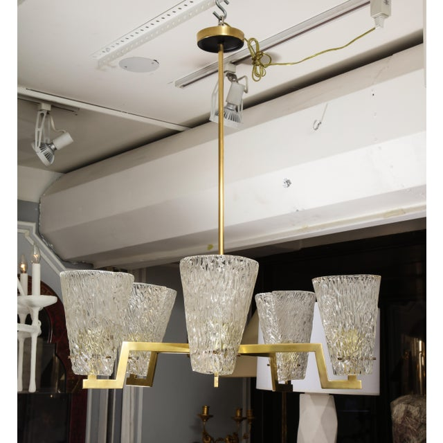 Sculptural Brass and Glass Six-Arm Hanging Light Fixture For Sale - Image 9 of 9