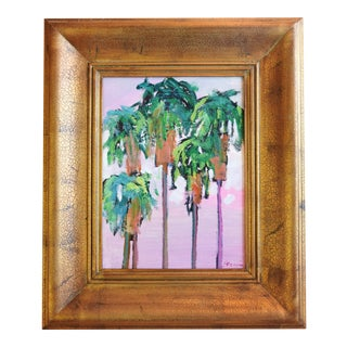 Juan Guzman, Santa Barbara Palm Trees Oil Painting For Sale