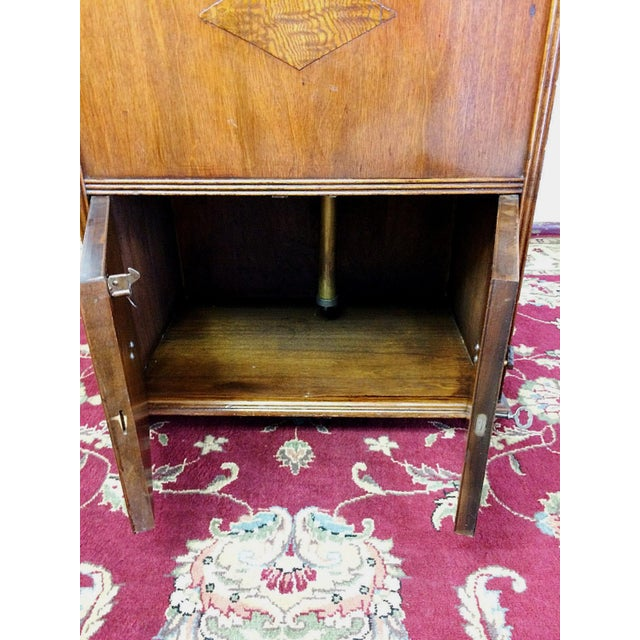 Brown Art Deco Prohibition Era Radio Cabinet Concealed Bar Cart For Sale - Image 8 of 8