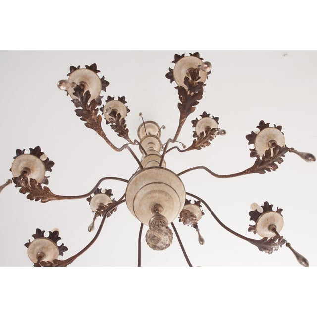 Italian Reproduction Painted 12 Light Chandelier For Sale - Image 10 of 11