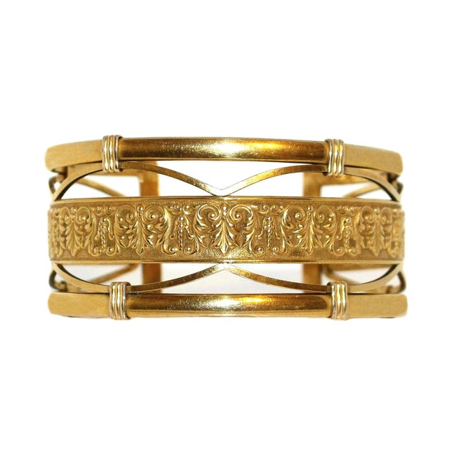 1930s to 1940s Krementz 14k Gold Overlay Ornate Motif Cuff For Sale In Los Angeles - Image 6 of 6