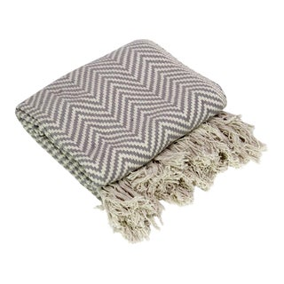 Charcoal Cotton Chevron Throw For Sale