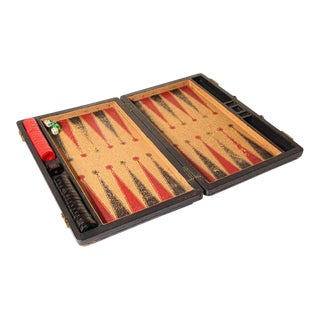Antique Large Red and Black Backgammon Game with Bakelite Pieces For Sale