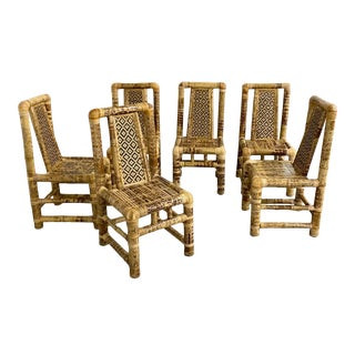 1970s Vintage Sculptural Rounded Bamboo Block Style Dining Chairs - Set of 6 For Sale