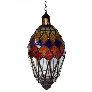 Hanging Glass Lantern With Kaleidoscope Accents II For Sale