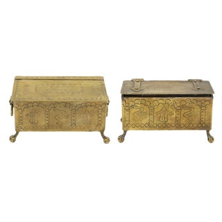 A Pair of Brass Dutch Style Table Top Cigarette or Tobacco Boxes; English, Early 19th Century. For Sale