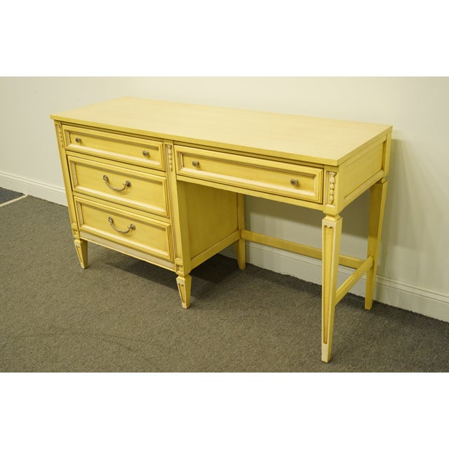 20th Century French Provincial Basic Witz Furniture Painted Cream Writing Desk For Sale - Image 4 of 13