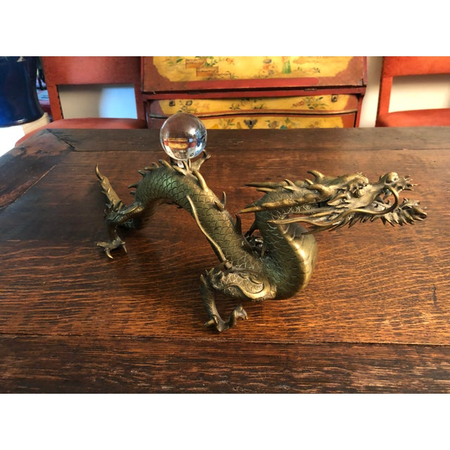 Antique Asian Articulated Dragon Sculpture Holding Glass Ball For Sale - Image 12 of 13